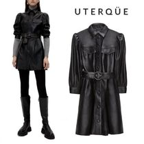 【Uterque】LEATHER BELTED DRESS