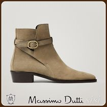 MassimoDutti♪LEATHER ANKLE BOOTS WITH LEATHER BUCKLE DETAIL