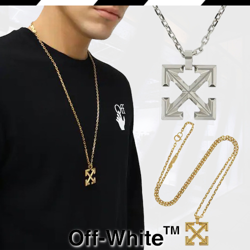 21SS Off-Whiteオフホワイト クロスアローロングネックレス (Off-White/ネックレス・チョーカー) 63778702