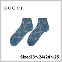 【GUCCI】Blue & Silver Lame Short GG Socks/送・関税込