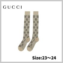 【GUCCI】Off-White & Gold Lame GG Socks/送・関税込