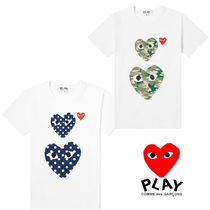 PLAY COMME des GARCONS(プレイコムデギャルソン) Tシャツ・カットソー 関送込 PLAY COMME des GARCONS★大人気柄ハートロゴ半袖Tシャツ