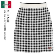 Miu miu vichy wool f12 mini skirt