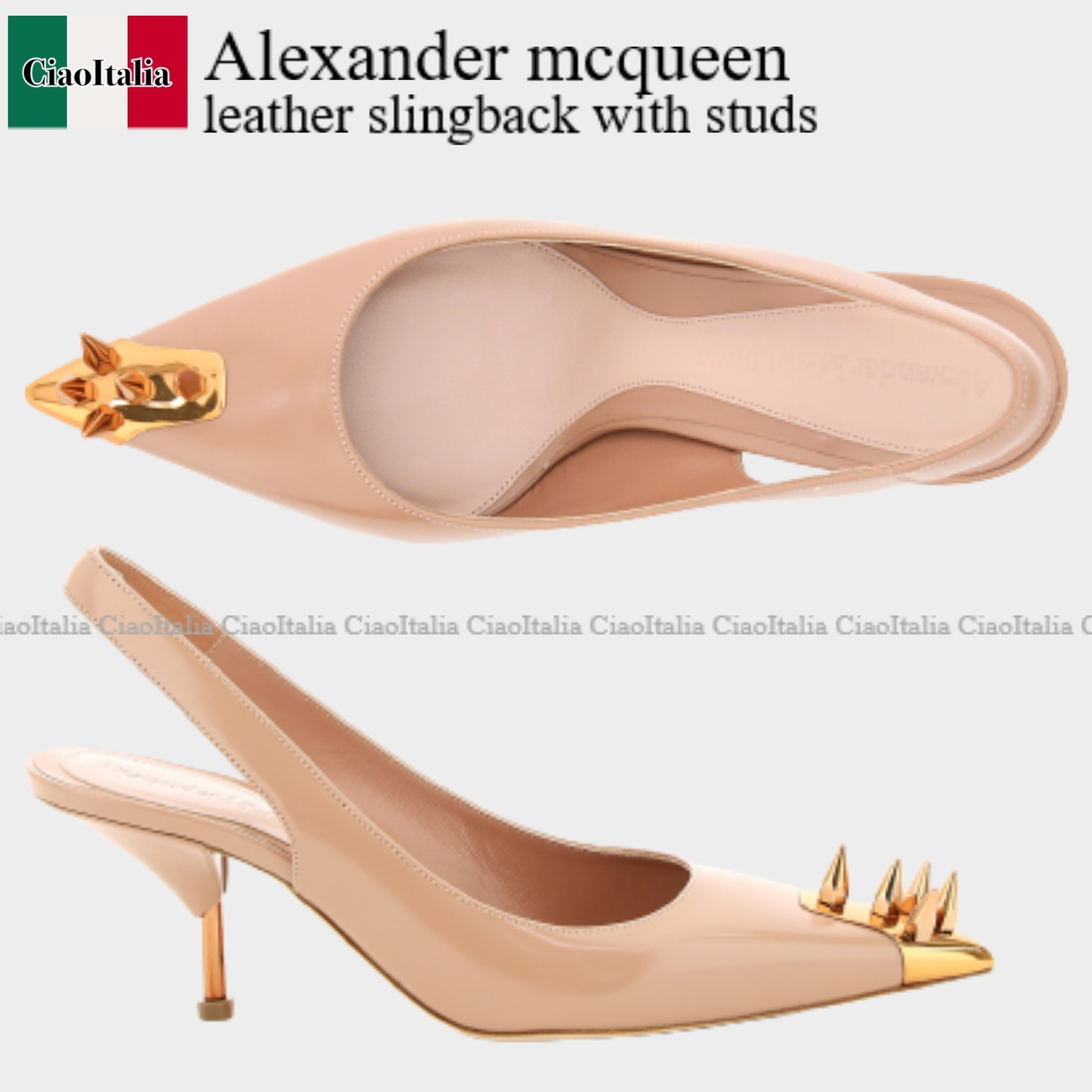 Alexander mcqueen leather slingback with studs (alexander mcqueen/パンプス) ALEXANDER MCQUEEN LEATHER SLINGBACK WITH  651709 WHV7F  651709 WHV7F 8225