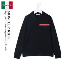 Moncler Kids logo patch cotton long-sleeved polo shirt