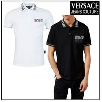 VERSACE JEANS COUTURE 襟・袖・胸のロゴ ポロシャツ/2色 白黒