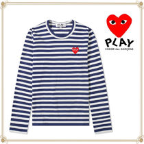PLAY COMME des GARCONS(プレイコムデギャルソン) Tシャツ・カットソー 関送込 PLAY COMME des GARCONS★大人気袖ストライプロゴTシャツ