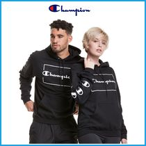 最新作!! ★CHAMPION★ Powerblend Fleece Hoodie, Framed Logos