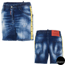 関税込DSQUARED2 Medium 2 Wash Dan Commando Denim Shorts ロゴ