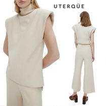 【Uterque】KNITTED VEST WITH SHOULDERERS+PEARL KNIT TROUSERS