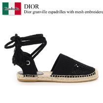 Dior granville espadrilles with mesh embroidered laces