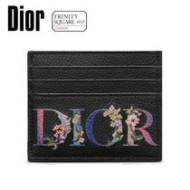 DIOR ディオール Card Holder -Black Grained Calfskin with