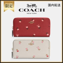 COACH☆Accordion Zip Wallet With Heart Floral Print☆送料込
