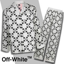 ◆Off-White◆ロゴプリント アローモチーフシルクパジャマ 白 黒