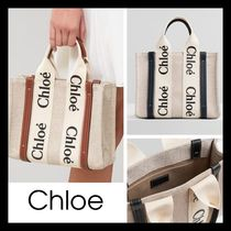 【Chloe】SMALL WOODY トートバッグ キャンバス white & brown