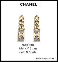 *CHANEL*earrings Metal & Strass Gold & Crystal (ピアス)