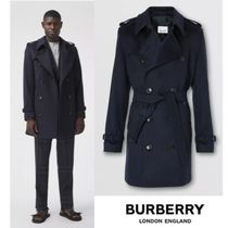 BURBERRY Wool Cashmere Trench Coat Navy