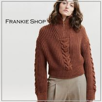 「THE FRANKIE SHOP」CABLE KNIT SWEATER  IN BROWN ニット