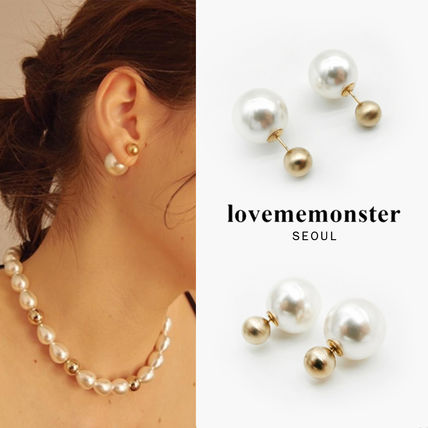 韓国発【LOVE ME MONSTER】Gold Ball & Pearl Earrings/ピアス