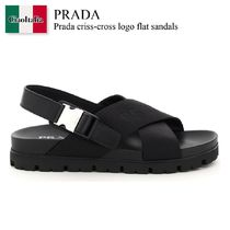 Prada criss-cross logo flat sandals