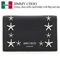 Jimmy choo nello card holder with flap and star studs