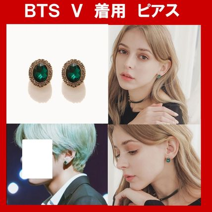 ★BTS V 着用★J.LAUREN  Green Cubic Earrings ピアス  韓国