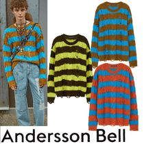 ★ANDERSSON BELL★UNISEX DESTROYED STRIPE CABLE SWEATER