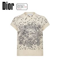 DIOR ディオール Short-Sleeved Embroidered Sweater -White
