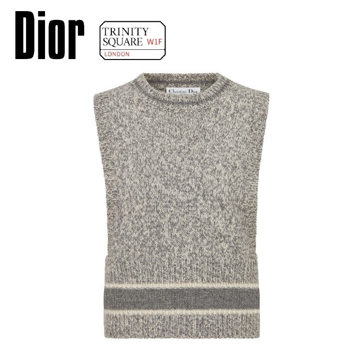 DIOR ディオール Sleeveless Top -White and Gray Cashmere and (Dior/トップスその他) 64036920