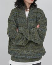 Raucohouse Color mixed half zip-up knitwear