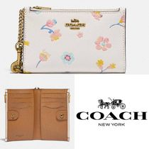 【Coach】Zip Chain Card Case With Watercolor Floral Print