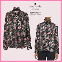 【kate spade】Rose Garden Clip Highneck Blouse 花柄 ブラウス