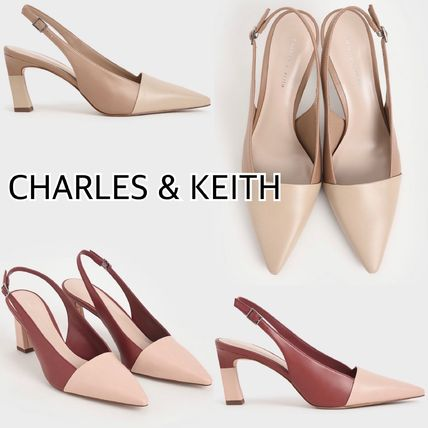 CHARLES & KEITH 美脚見え★2トーン スリンバッグパンプス