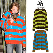 ★ANDERSSON BELL★韓国 UNISEX DESTROYED STRIPE CABLE SWEATER
