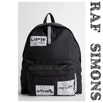 ☆RAF SIMONS☆Grey check padded printed patch xlバックパック