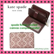 KATE SPADE*spade flower coated canvas compact wallet 折財布