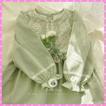 【ArimCloset】olive green lace point lovely cotton dress