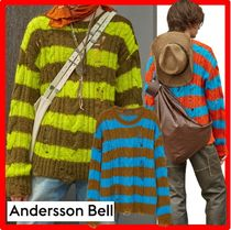 ★【ANDERSSON BELL】★UNISEX DESTROYED STRIPE CABLE SWEATE.R
