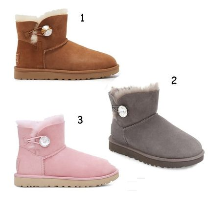 SALE★UGG★ Mini Bailey Button Bling Genuine Shearling Boot