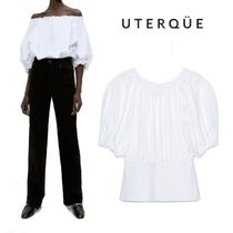 【Uterque】CONTRAST TOP WITH GATHERED DETAILING