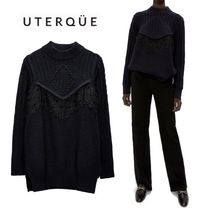 【Uterque】KNIT SWEATER WITH LACE TRIM APPLIQUES