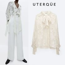 【Uterque】SHIRT WITH BOW AND METALLIC THREAD