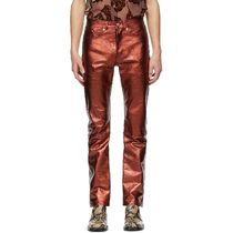 Red Leather Metallic Trousers