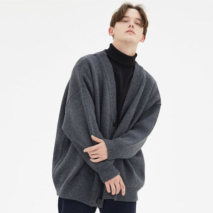 [ COMPAGNO ] Heavy Over Fit Rams Wool Cardigan (Charcoal)