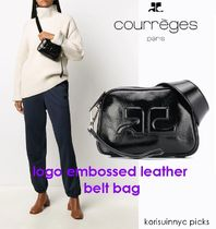 SALE*COURREGES*logo embossed leather belt bag BK
