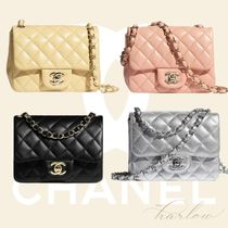 CHANEL チェーン バッグ フラップ ミニ マト ラム 銀 黄 桃 黒