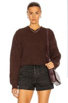 ACNE Cropped sweater brown クロップドVネックセーターブラウン