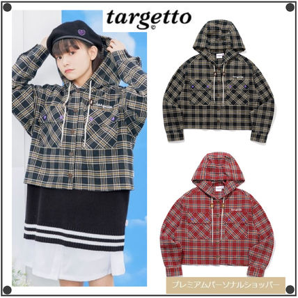 TARGETTO SEOUL ブラウス・シャツ TARGETTO SEOULのCHECK HOODIE SHIRTS 全2色