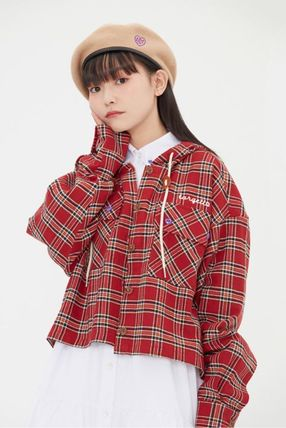 TARGETTO SEOUL ブラウス・シャツ TARGETTO SEOULのCHECK HOODIE SHIRTS 全2色(5)