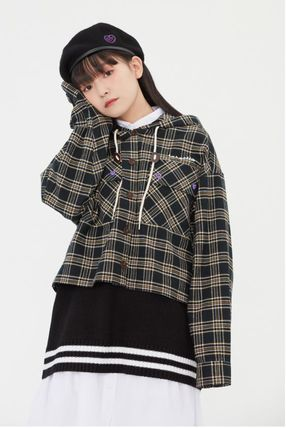 TARGETTO SEOUL ブラウス・シャツ TARGETTO SEOULのCHECK HOODIE SHIRTS 全2色(16)